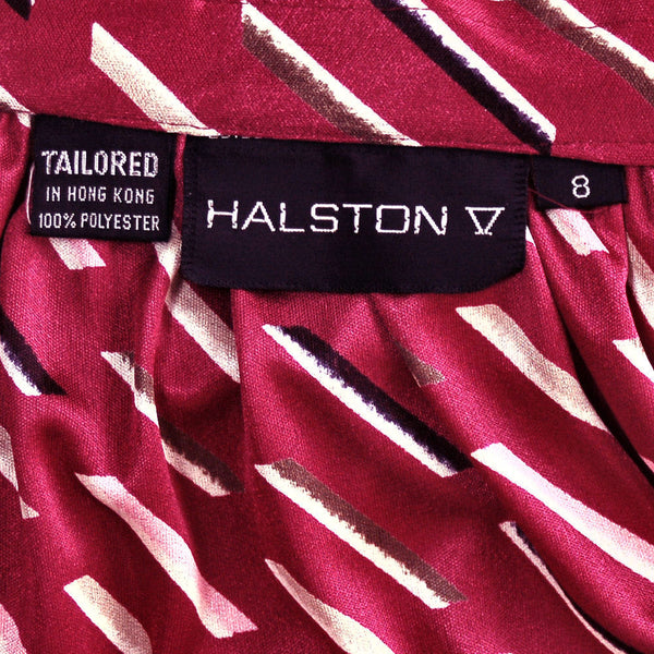 Vintage Halston Skirt and Blouse Set Suit 1980'S Claret Combo Size 8 - The Best Vintage Clothing  - 5