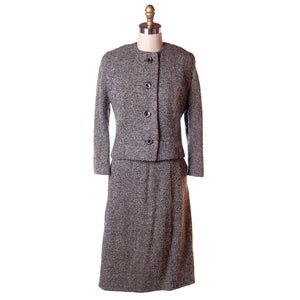 Vintage Wool Ladies Tweed Suit Henri Bendel Black & White 1960S 40-30-44 - The Best Vintage Clothing  - 1