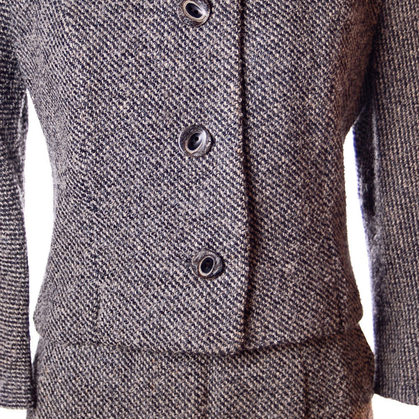 Vintage Wool Ladies Tweed Suit Henri Bendel Black & White 1960S 40-30-44 - The Best Vintage Clothing  - 4