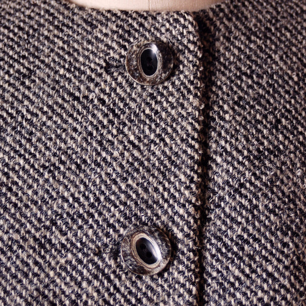 Vintage Wool Ladies Tweed Suit Henri Bendel Black & White 1960S 40-30-44 - The Best Vintage Clothing  - 6