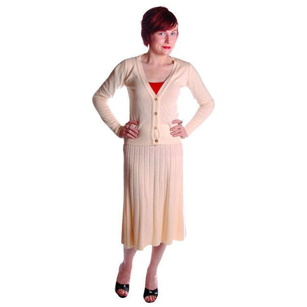 Vintage  Sweater Suit 1950s  Cream Cashmere Womens Small - The Best Vintage Clothing  - 1