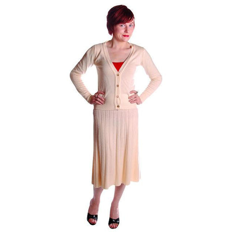Vintage  Sweater Suit 1950s  Cream Cashmere Womens Small