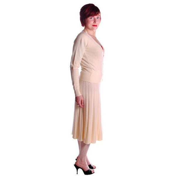 Vintage  Sweater Suit 1950s  Cream Cashmere Womens Small - The Best Vintage Clothing  - 2