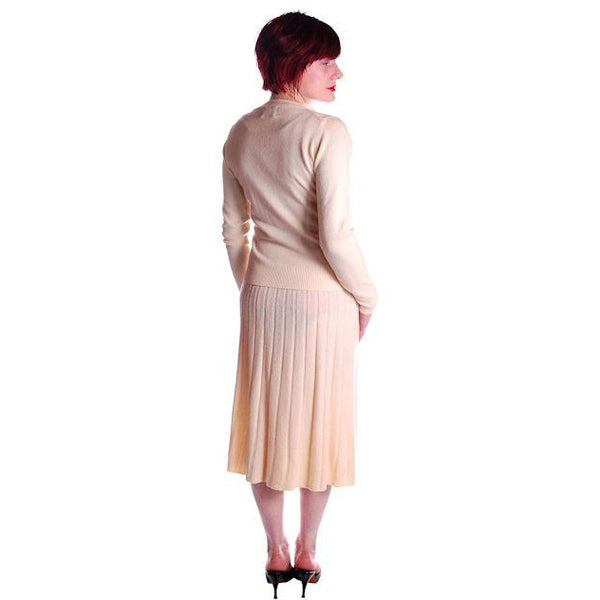 Vintage  Sweater Suit 1950s  Cream Cashmere Womens Small - The Best Vintage Clothing  - 3