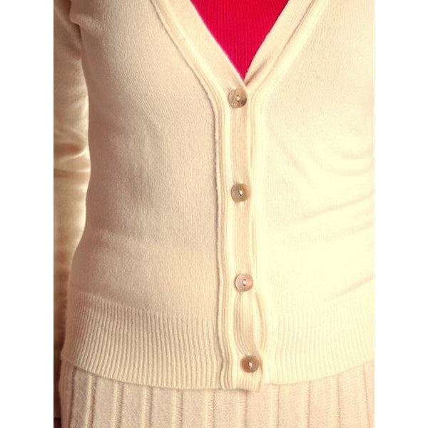 Vintage  Sweater Suit 1950s  Cream Cashmere Womens Small - The Best Vintage Clothing  - 4