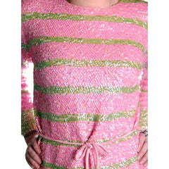 Vintage  Dress Pink & Green Sequin Sweater Gene Shelly 1960s Small Orig. Box - The Best Vintage Clothing  - 9