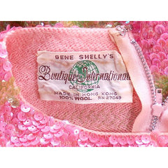 Vintage  Dress Pink & Green Sequin Sweater Gene Shelly 1960s Small Orig. Box - The Best Vintage Clothing  - 2