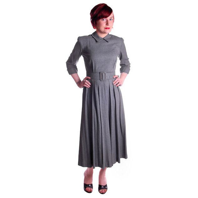 Vintage Heather Gray Wool Gabardine Day Dress 1950's Lenbarry 38-26-44 - The Best Vintage Clothing  - 1