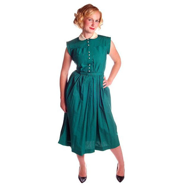 Vintage Cotton Summer Dress Green Nice Details Jonathan Logan 1940s 36-26-Free - The Best Vintage Clothing  - 1