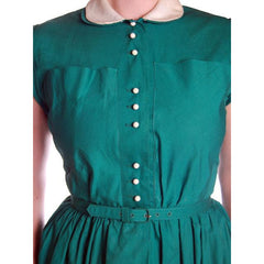 Vintage Cotton Summer Dress Green Nice Details Jonathan Logan 1940s 36-26-Free - The Best Vintage Clothing  - 7