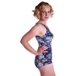 Vintage Swimsuit Velveteen  1 Pc Rose Marie Reid 1960's Size M - The Best Vintage Clothing  - 1
