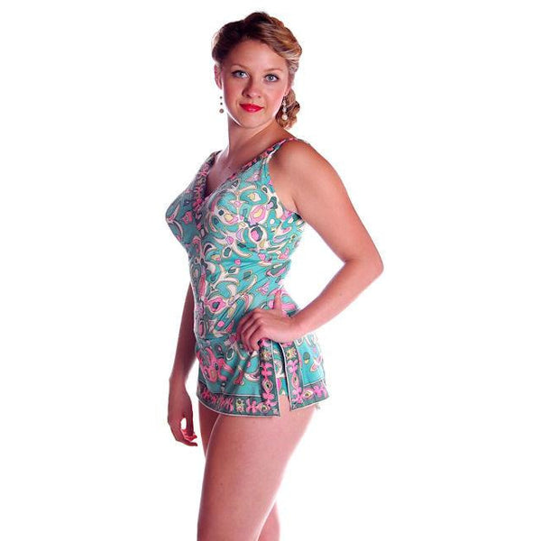 Vintage Swimsuit 1 PC Roxanne 1960s Pastel Print D Cup 10-12 - The Best Vintage Clothing  - 9