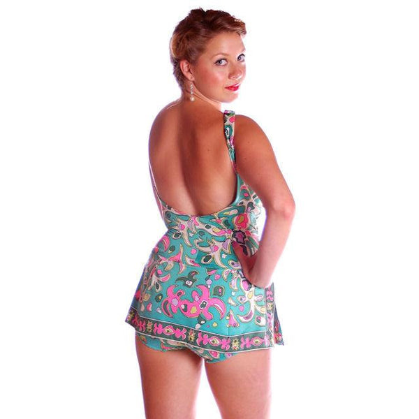 Vintage Swimsuit 1 PC Roxanne 1960s Pastel Print D Cup 10-12 - The Best Vintage Clothing  - 3