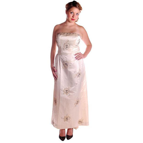 Vintage Ivory Silk Satin Beaded Strapless/Wedding  Evening Gown 1950s 38-32-44 - The Best Vintage Clothing  - 1