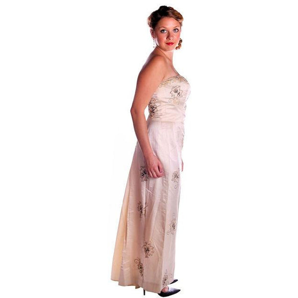 Vintage Ivory Silk Satin Beaded Strapless/Wedding  Evening Gown 1950s 38-32-44 - The Best Vintage Clothing  - 2