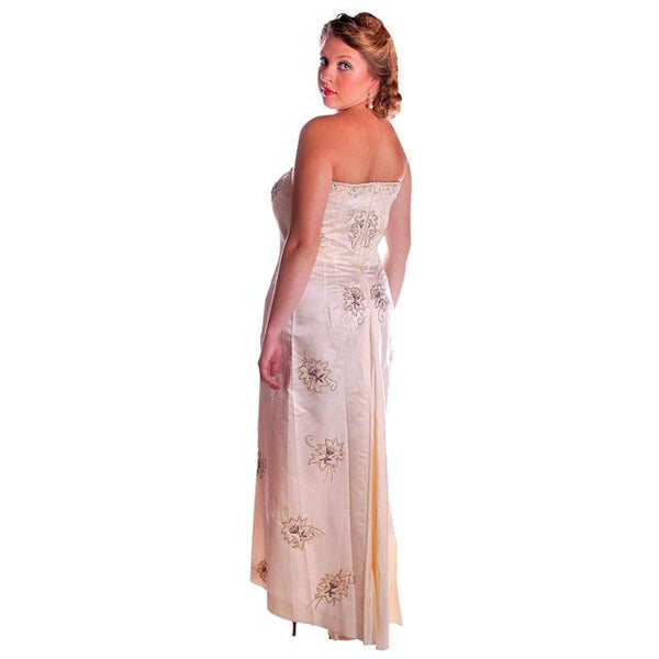 Vintage Ivory Silk Satin Beaded Strapless/Wedding  Evening Gown 1950s 38-32-44 - The Best Vintage Clothing  - 3