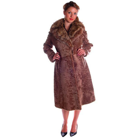 Vintage Sheepskin Lamb Trench Coat Raccoon Collar 1970s 12-14 Gorgeous