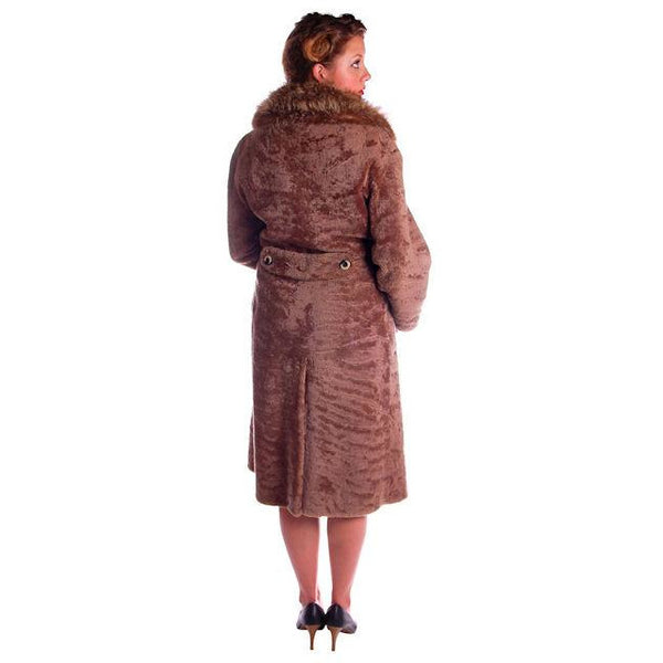 Vintage Sheepskin Lamb Trench Coat Raccoon Collar 1970s 12-14 Gorgeous - The Best Vintage Clothing  - 3
