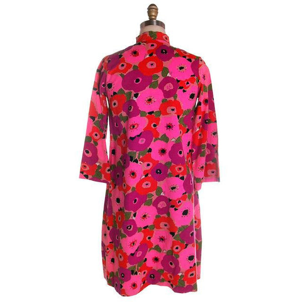 Vintage Dress Bright Pink Mod Print Corduroy Housecoat Robe  1960s S-M - The Best Vintage Clothing  - 2