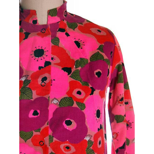 Vintage Dress Bright Pink Mod Print Corduroy Housecoat Robe  1960s S-M - The Best Vintage Clothing  - 4
