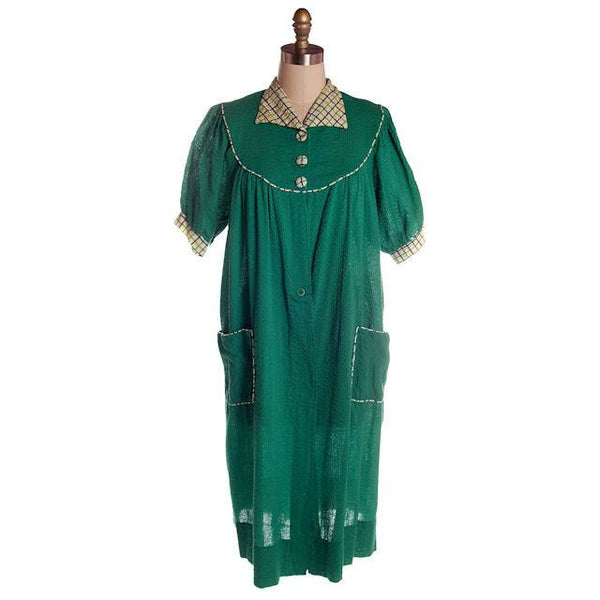 Vintage Green Seersucker Housecoat /Robe/Dress 1930s Any Sz - The Best Vintage Clothing  - 4