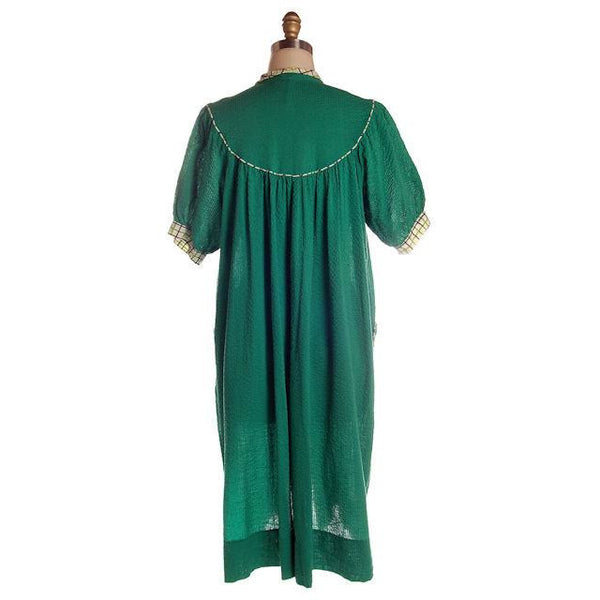 Vintage Green Seersucker Housecoat /Robe/Dress 1930s Any Sz - The Best Vintage Clothing  - 2