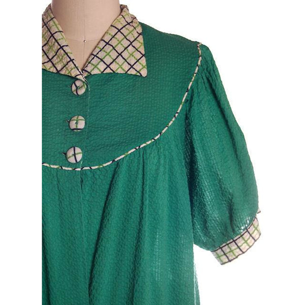 Vintage Green Seersucker Housecoat /Robe/Dress 1930s Any Sz - The Best Vintage Clothing  - 1