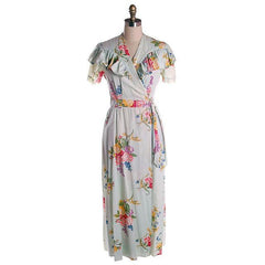 Vintage Shabby Floral Robe Pale Blue Print 1940s Sz M - The Best Vintage Clothing  - 1