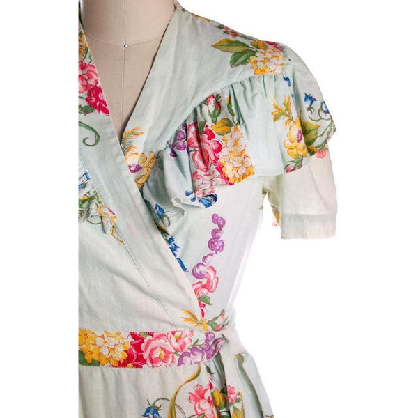 Vintage Shabby Floral Robe Pale Blue Print 1940s Sz M - The Best Vintage Clothing  - 2