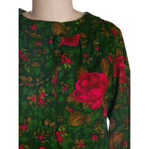 Vintage Dress/Tunic   Zacari Rose Printed 1960s Cotton Sz M-L - The Best Vintage Clothing  - 1
