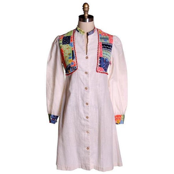 Vintage Hippie Smock Dress Patchwork Print  Yoke Gauze 1970s S-M - The Best Vintage Clothing  - 1