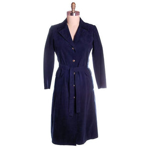 Vintage Womens Navy Blue Ultrasuede Coat Rosenblums  1970s Medium - The Best Vintage Clothing  - 1