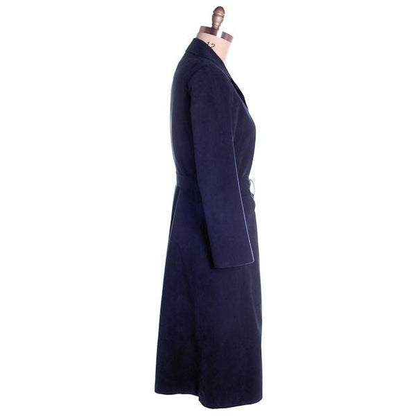 Vintage Womens Navy Blue Ultrasuede Coat Rosenblums  1970s Medium - The Best Vintage Clothing  - 3