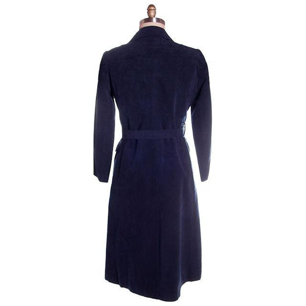 Vintage Womens Navy Blue Ultrasuede Coat Rosenblums  1970s Medium - The Best Vintage Clothing  - 2