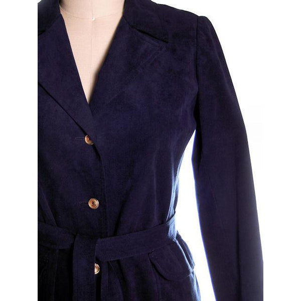 Vintage Womens Navy Blue Ultrasuede Coat Rosenblums  1970s Medium - The Best Vintage Clothing  - 7