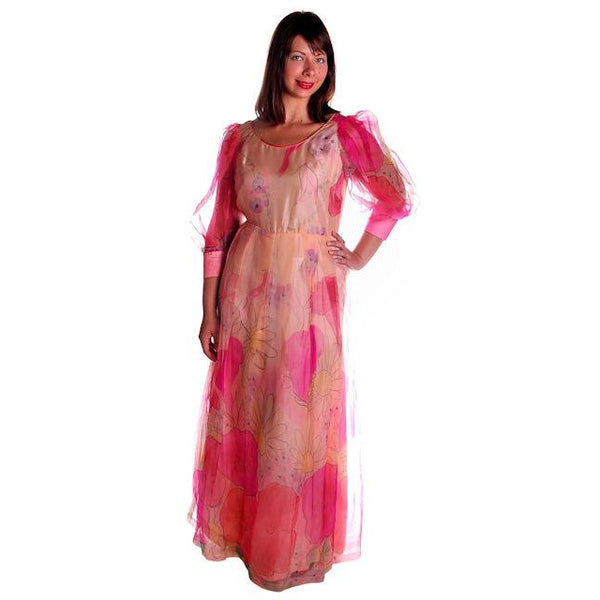 Vintage Annie Corvall Silk Chiffon Fantasy Evening Gown 1980s Pinks Floaty 10-12 - The Best Vintage Clothing  - 3