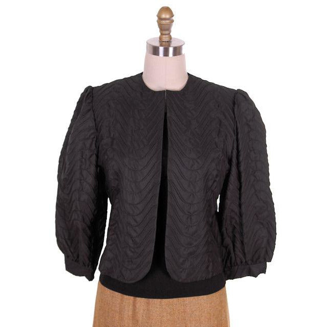 Vintage  Balloon Sleeve Shorty Jacket Black Textural Stitching Size 8 1970s - The Best Vintage Clothing  - 1