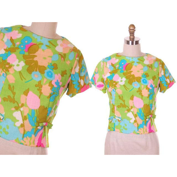 Vintage Blouse  Mod Floral Print 1960s NOS Nathalie of California - The Best Vintage Clothing  - 6