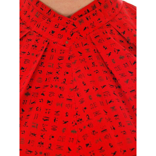 Vintage  Maternity  Blouse Lipstick Red  Cotton Heiroglyphics Print  1950s - The Best Vintage Clothing  - 4