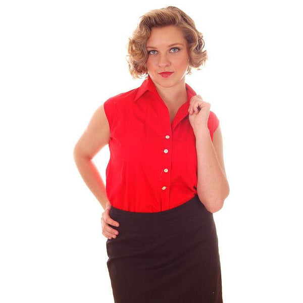 Vintage Blouse Lipstick Red  Cotton Sleeveless 1950s S-M Starlight Brand Rockabilly VLV - The Best Vintage Clothing  - 1