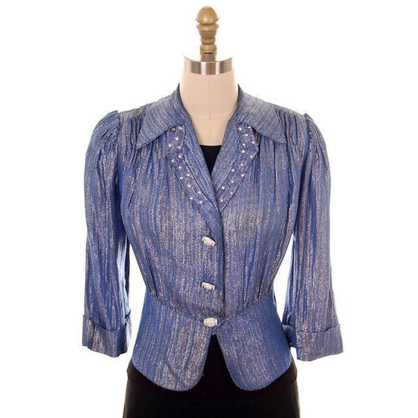 Vintage Evening Jacket Ladies 1940s Metallic Ice Blue Rhinestone Buttons L - The Best Vintage Clothing  - 1