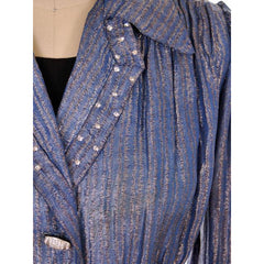 Vintage Evening Jacket Ladies 1940s Metallic Ice Blue Rhinestone Buttons L - The Best Vintage Clothing  - 4