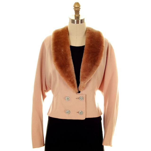 Vintage Ladies Jacket Peach Wool w. Mouton Shawl Collar  Late1940s Large - The Best Vintage Clothing  - 1