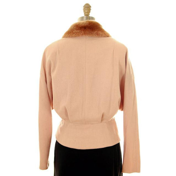 Vintage Ladies Jacket Peach Wool w. Mouton Shawl Collar  Late1940s Large - The Best Vintage Clothing  - 3