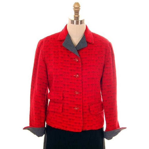 Vintage Ladies Short Jacket Red/ Gray  Mohair Med-Large 1950s - The Best Vintage Clothing  - 1