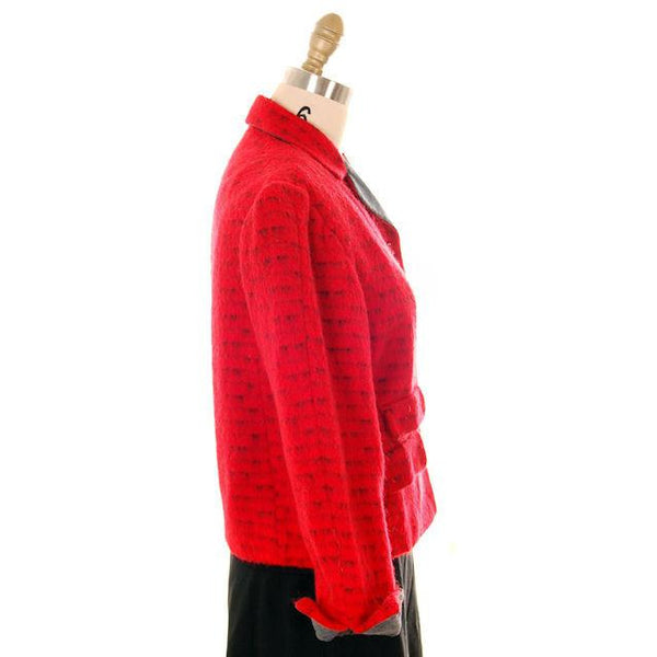 Vintage Ladies Short Jacket Red/ Gray  Mohair Med-Large 1950s - The Best Vintage Clothing  - 2