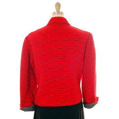 Vintage Ladies Short Jacket Red/ Gray  Mohair Med-Large 1950s - The Best Vintage Clothing  - 3