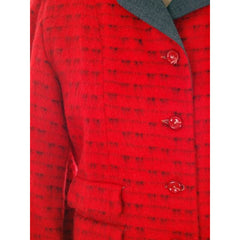 Vintage Ladies Short Jacket Red/ Gray  Mohair Med-Large 1950s - The Best Vintage Clothing  - 4
