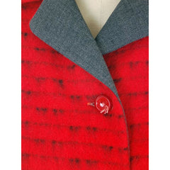 Vintage Ladies Short Jacket Red/ Gray  Mohair Med-Large 1950s - The Best Vintage Clothing  - 5