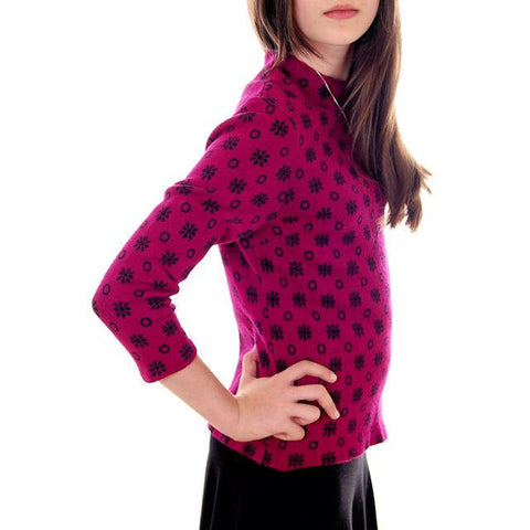 Vintage  Wool Sweater Violet/Black Snowflake Pattern Germany 1960s Small-M